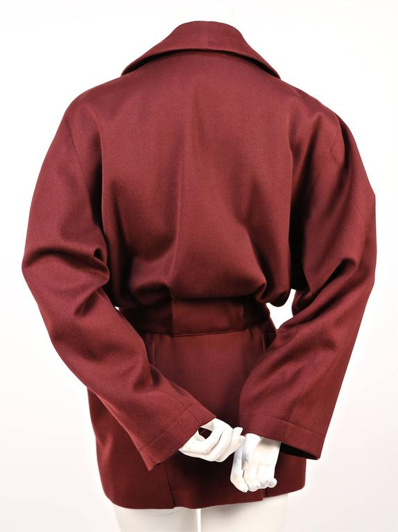 1980's AZZEDINE ALAIA burgundy gabardine coat with wrap around pockets 3