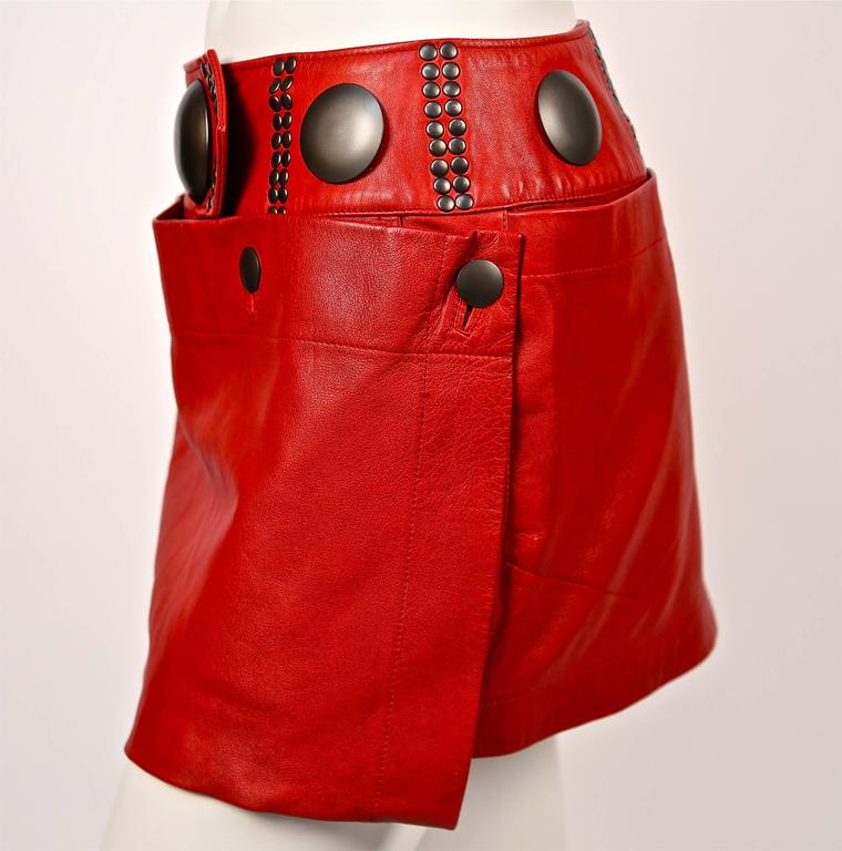 unworn 1980's ISSEY MIYAKE red leather mini skirt with oversized studs 3