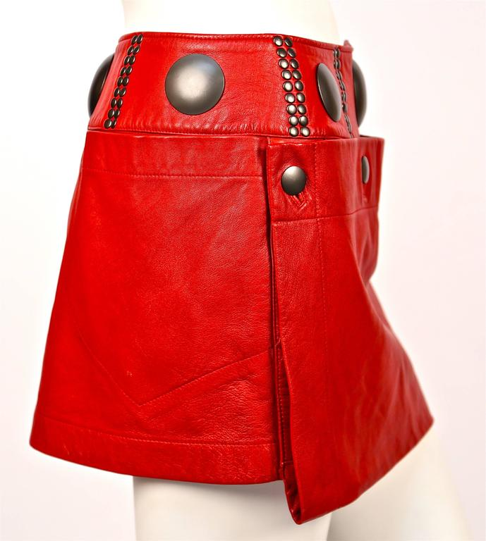unworn 1980's ISSEY MIYAKE red leather mini skirt with oversized studs 4