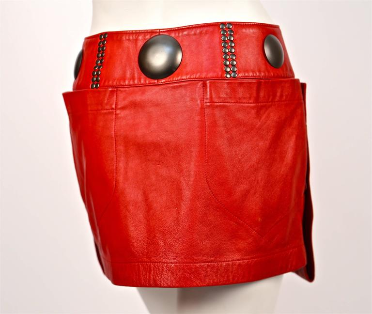 unworn 1980's ISSEY MIYAKE red leather mini skirt with oversized studs 5