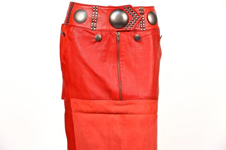 unworn 1980's ISSEY MIYAKE red leather mini skirt with oversized studs 6