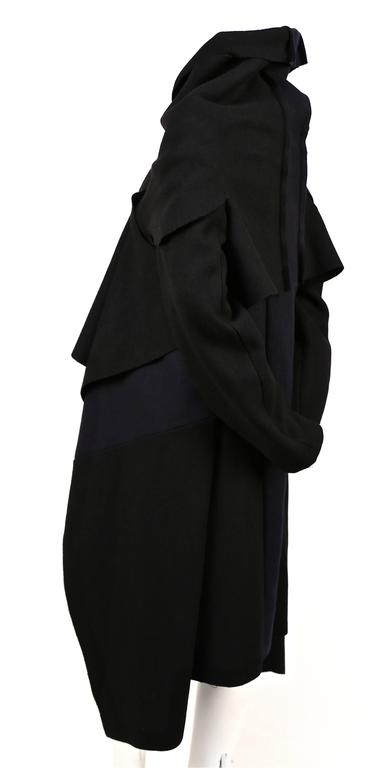 COMME DES GARCONS black & navy felted wool coat 3