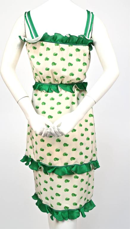 1973 COURREGES abstract printed silk dress with ruffles 3