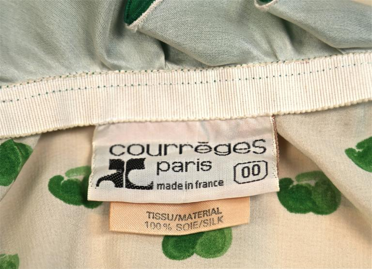 1973 COURREGES abstract printed silk dress with ruffles In Excellent Condition For Sale In Oakland, CA