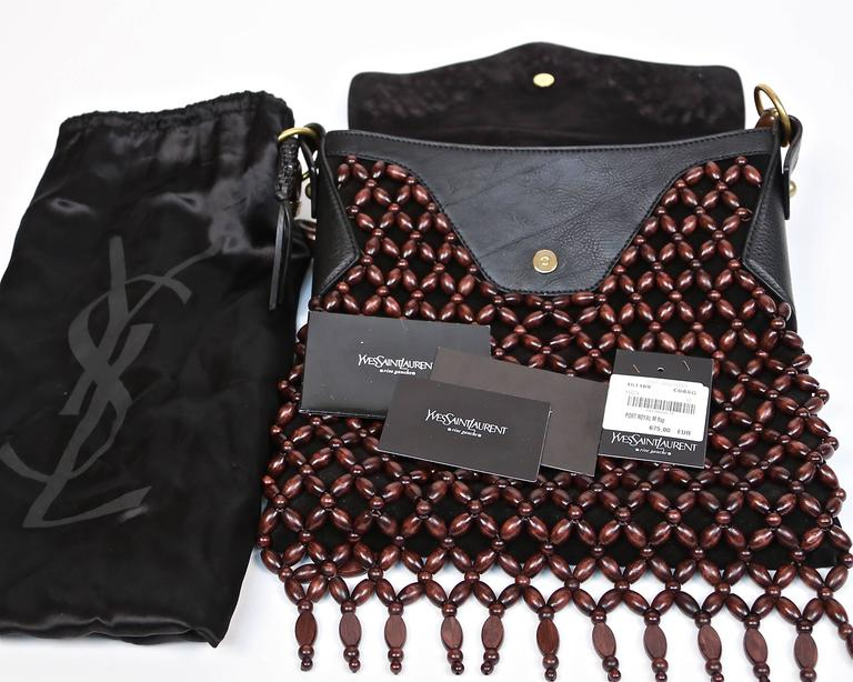 YVES SAINT LAURENT black suede and leather bag with fringed wood beading 5