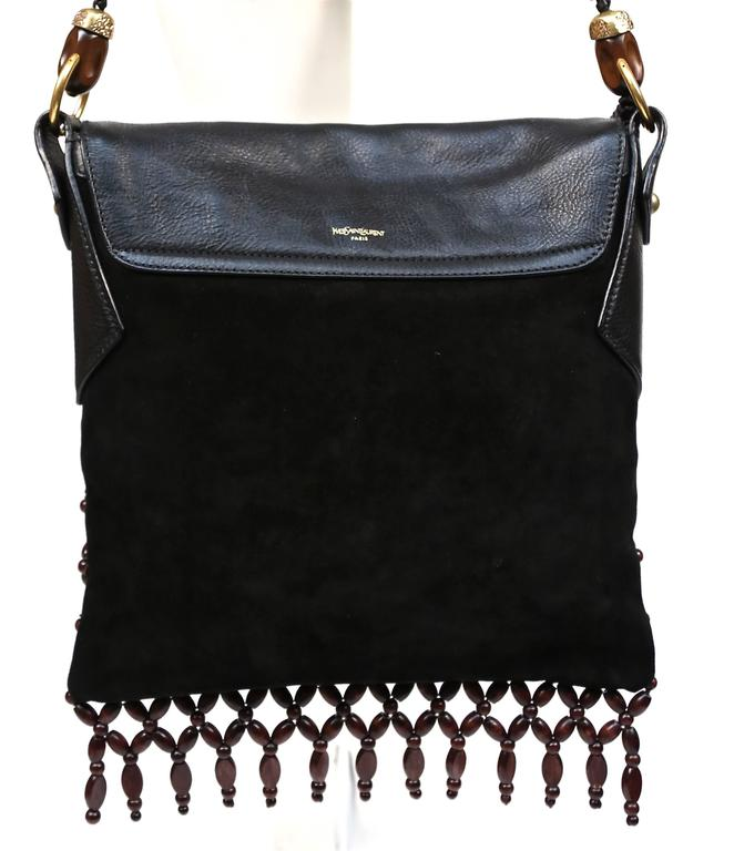YVES SAINT LAURENT black suede and leather bag with fringed wood beading 2