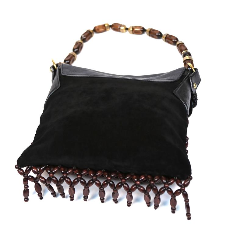 YVES SAINT LAURENT black suede and leather bag with fringed wood beading 3
