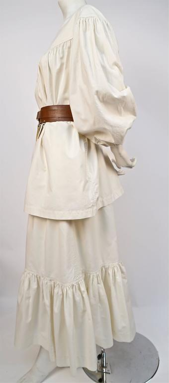 Beige 1970's YVES SAINT LAURENT cream cotton muslin peasant top and skirt For Sale