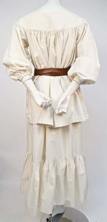 1970's YVES SAINT LAURENT cream cotton muslin peasant top and skirt In Good Condition For Sale In San Fransisco, CA