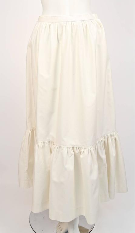Women's or Men's 1970's YVES SAINT LAURENT cream cotton muslin peasant top and skirt For Sale