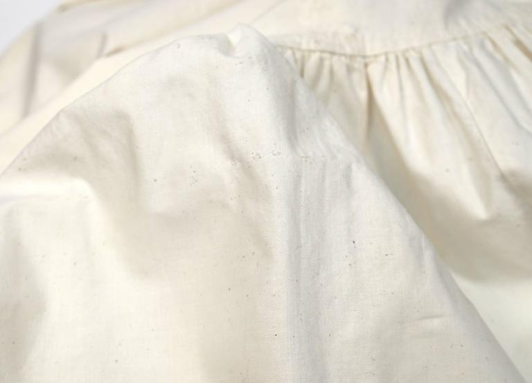 1970's YVES SAINT LAURENT cream cotton muslin peasant top and skirt For Sale 1