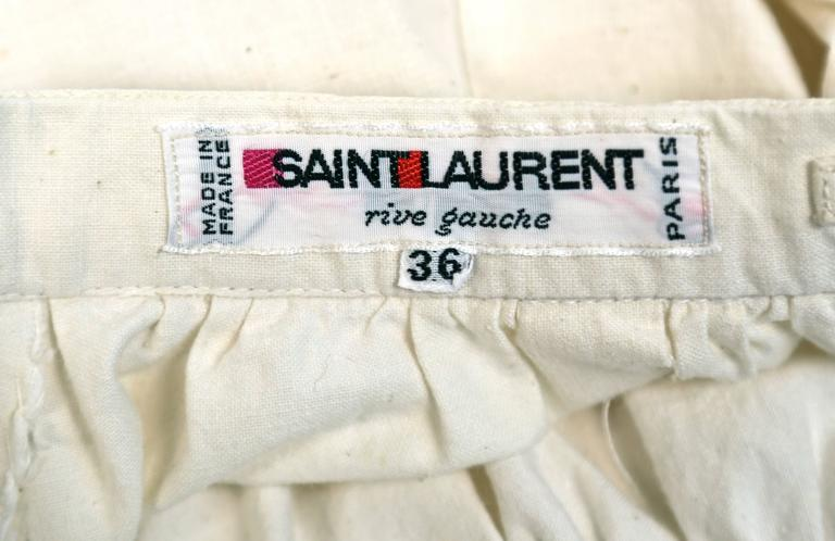 1970's YVES SAINT LAURENT cream cotton muslin peasant top and skirt For Sale 3