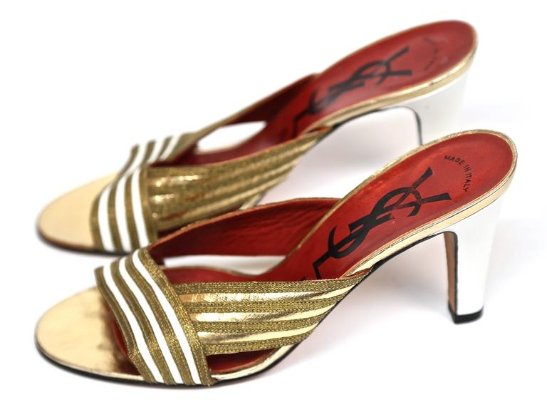 Brown new 1970's YVES SAINT LAURENT gold leather heels - size 6.5 For Sale