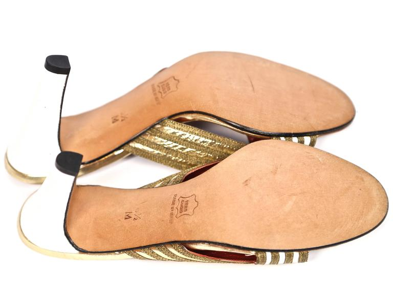Women's or Men's new 1970's YVES SAINT LAURENT gold leather heels - size 6.5 For Sale
