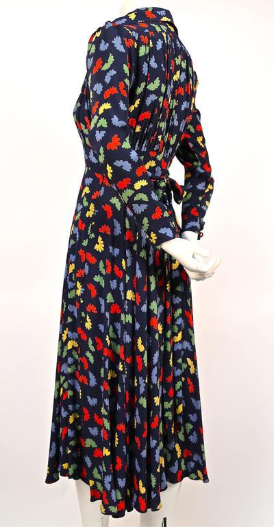 Black 70's OSSIE CLARK for Quorum 'Celia Birtwell' fan printdress w/ plunging neckline For Sale