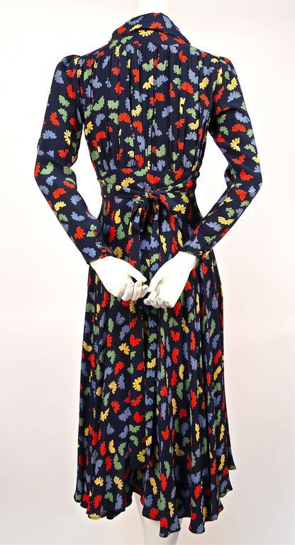 70's OSSIE CLARK for Quorum 'Celia Birtwell' fan printdress w/ plunging neckline 4