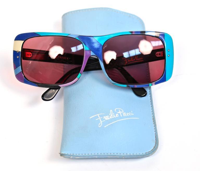 Pink rare 1960's EMILIO PUCCI oversized sunglasses For Sale