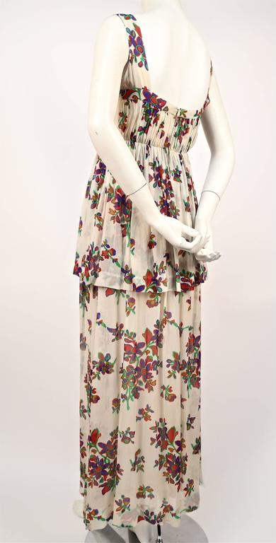 Beige 1970's YVES SAINT LAURENT floral silk chiffon long summer dress For Sale