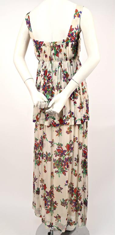 1970's YVES SAINT LAURENT floral silk chiffon long summer dress In Good Condition For Sale In Oakland, CA