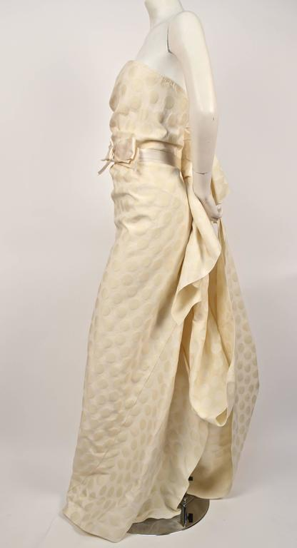LANVIN collection 'Blanche' cream ruched strapless gown 2