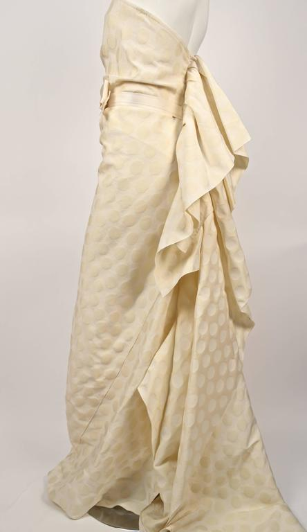 LANVIN collection 'Blanche' cream ruched strapless gown 3