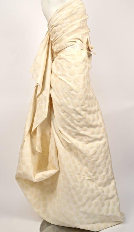 LANVIN collection 'Blanche' cream ruched strapless gown 4