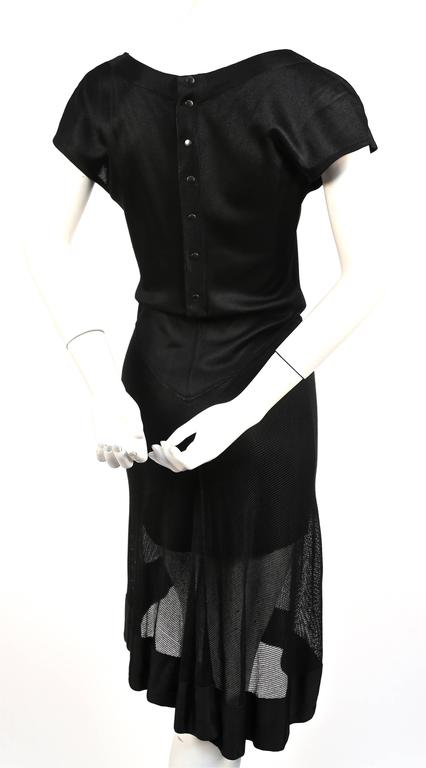 1992 Azzedine Alaia documented black dress with sheer asymmetrical hemline In Excellent Condition For Sale In San Fransisco, CA
