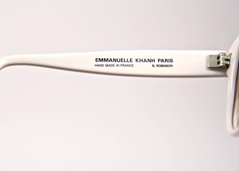 Beige 1980's EMMANUELLE KHANH oversized white sunglasses For Sale