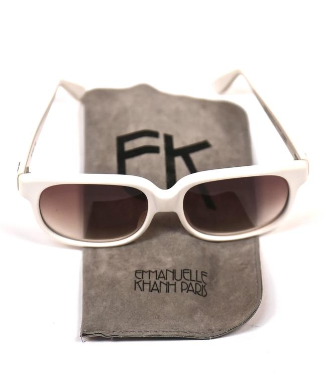 1980's EMMANUELLE KHANH oversized white sunglasses In Excellent Condition For Sale In San Fransisco, CA