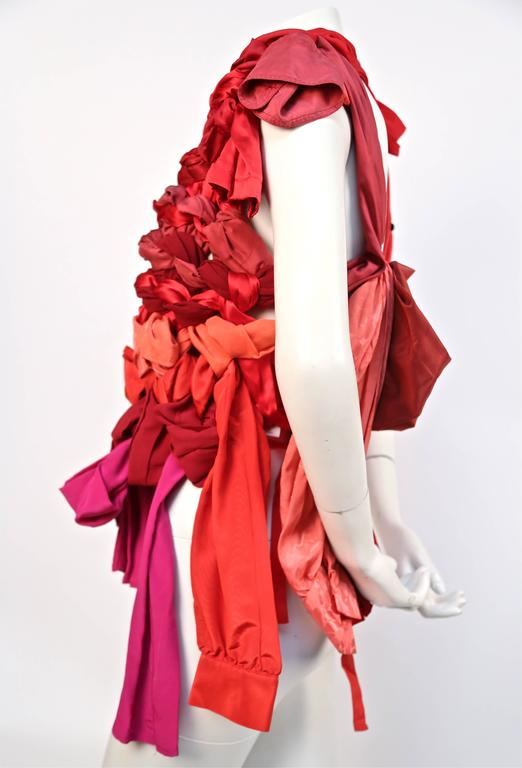 Red 2008 MARTIN MARGIELA artisanal silk top made of shirt sleeves For Sale