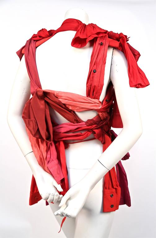 2008 MARTIN MARGIELA artisanal silk top made of shirt sleeves In New never worn Condition For Sale In San Francisco, CA