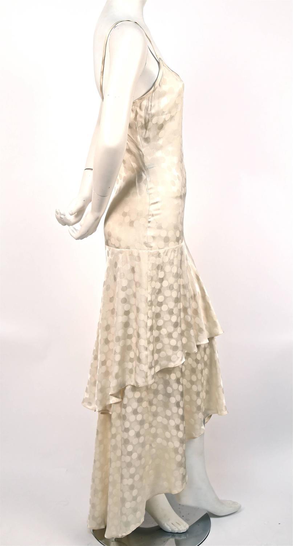 1970 39 s yves saint laurent haute couture cream silk damask for Yves saint laurent wedding dress