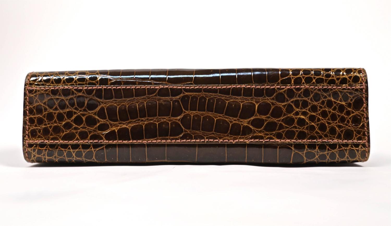 purses that look like birkin bags - 1960's LOEWE brown crocodile leather top handle bag with gilt ...