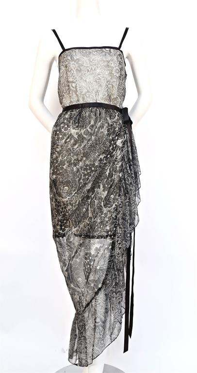 1978 YVES SAINT LAURENT silk chiffon dress & skirt with metallic floral motif 2