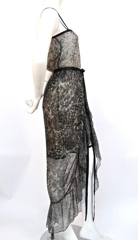 1978 YVES SAINT LAURENT silk chiffon dress & skirt with metallic floral motif 3