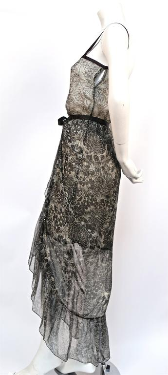 1978 YVES SAINT LAURENT silk chiffon dress & skirt with metallic floral motif 4