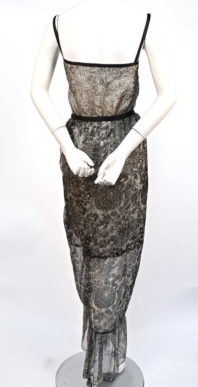 1978 YVES SAINT LAURENT silk chiffon dress & skirt with metallic floral motif 5