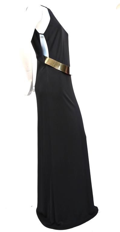 Black Tom Ford for Gucci black jersey gown with gold belt buckle, 1996  For Sale