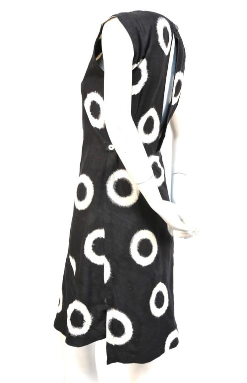 1986 ISSEY MIYAKE black circular Ikat woven cotton day dress 3
