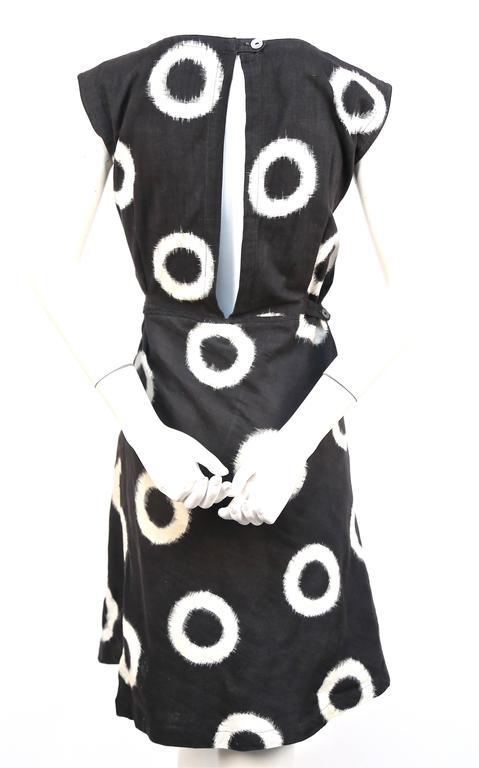 1986 ISSEY MIYAKE black circular Ikat woven cotton day dress 4