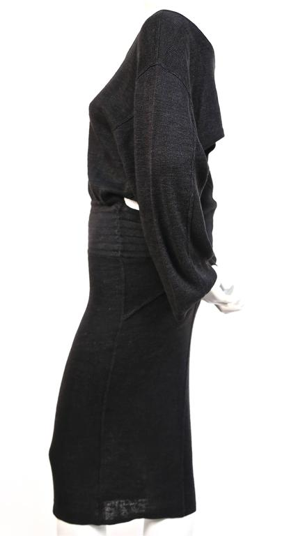 1980's AZZEDINE ALAIA black linen knit dress with cut out back 3