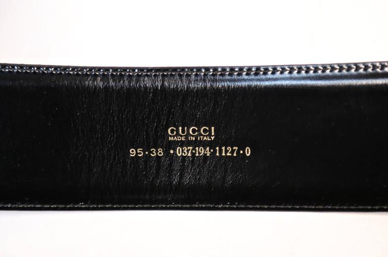 1996 TOM FORD for GUCCI black spazzalato leather belt with gilt buckle In Good Condition For Sale In San Fransisco, CA