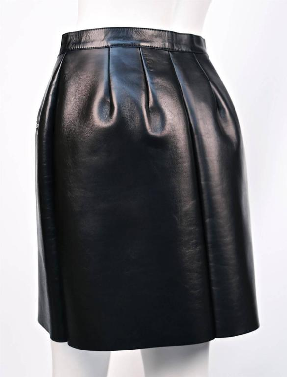 unworn CELINE black leather skirt with sliver zipper 2