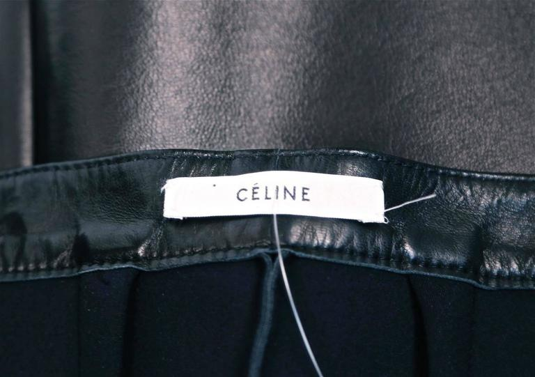 unworn CELINE black leather skirt with sliver zipper 3