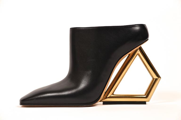 CELINE black leather mules with gold trapezoid heels - runway 2014 2