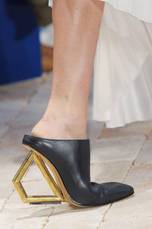 CELINE black leather mules with gold trapezoid heels - runway 2014 7