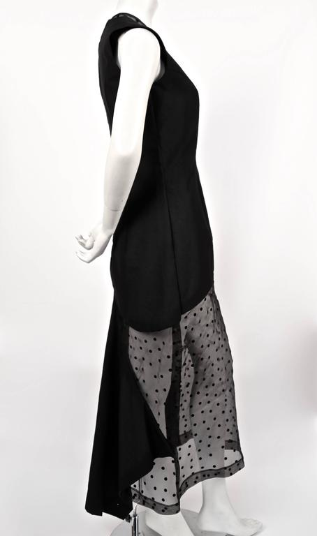 Black 1997 COMME DES GARCONS black runway dress with sheet dotted tulle  For Sale