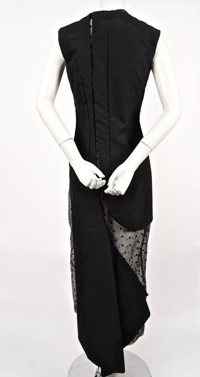 1997 COMME DES GARCONS black runway dress with sheet dotted tulle  In Good Condition For Sale In San Fransisco, CA