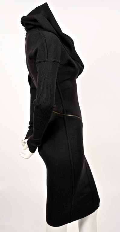 Azzedine Alaia Hooded Black Wool Zipper Dress, 1986  In Good Condition For Sale In San Fransisco, CA