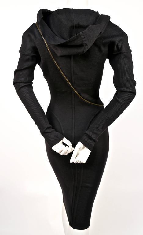 Women's or Men's Azzedine Alaia Hooded Black Wool Zipper Dress, 1986  For Sale